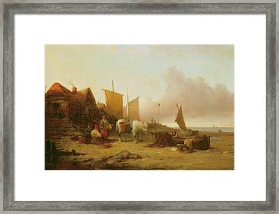 Mending Nets Framed Print by William Shayer