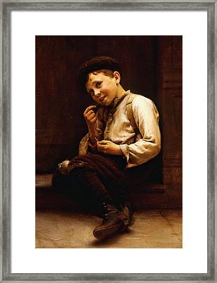 Mending The Baseball Framed Print by Karl Witkowski