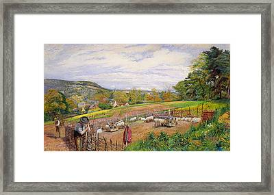 Mending The Sheep Pen Framed Print by William Henry Millais