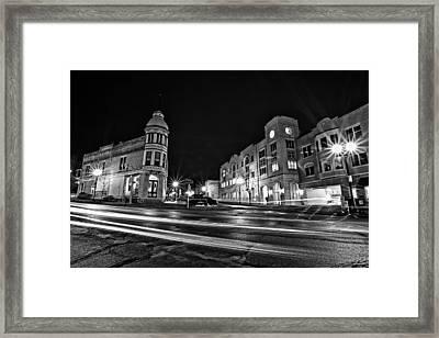 Menomonee And Underwood At Night Framed Print by CJ Schmit