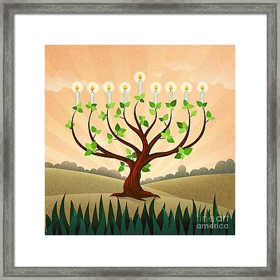 Menorah Tree Framed Print by Bedros Awak