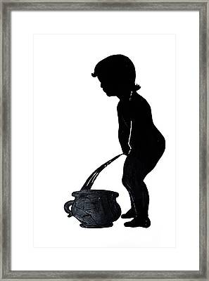 Mens Room Sign Silhouette Framed Print by Sally Weigand