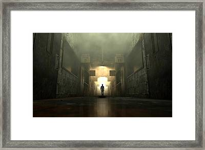 Mental Asylum With Ghostly Figure Framed Print by Allan Swart