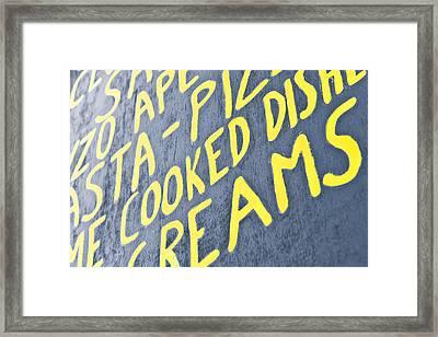 Menu Board Framed Print by Tom Gowanlock