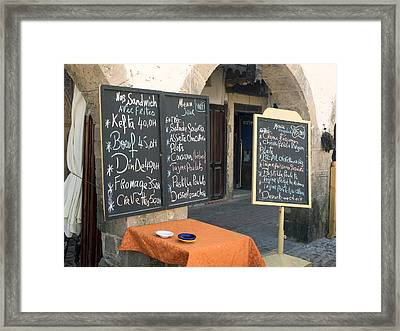 Menu Boards In A Square Of Avenue Framed Print by Panoramic Images