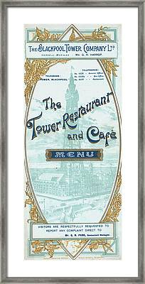 Menu For Lunch At Blackpool Tower Restaurant Framed Print by English School