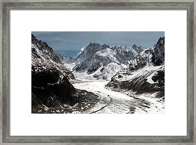 Mer De Glace - Mont Blanc Glacier Framed Print by Frank Tschakert