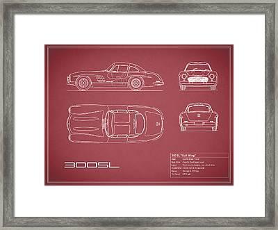 Mercedes 300 Sl Blueprint - Red Framed Print by Mark Rogan