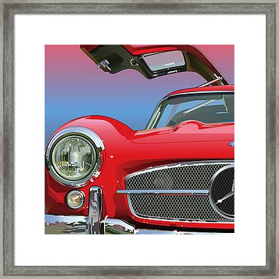 Mercedes 300 Sl Gullwing Detail Framed Print by Alain Jamar