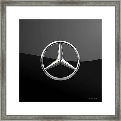 Mercedes-benz - 3d Badge On Black Framed Print by Serge Averbukh