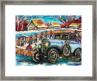 Mercedes Benz Model K Canadian Winter Country Scene Art Outdoor Hockey Rink Painting Carole Spandau  Framed Print by Carole Spandau
