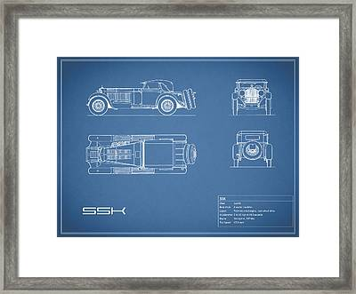 Mercedes Benz Ssk Blueprint Framed Print by Mark Rogan