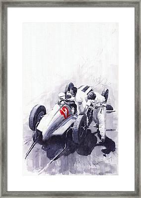 Mercedes Benz W125 Rudolf Caracciola The German Grand Prix Nurburgring 1937  Framed Print by Yuriy  Shevchuk