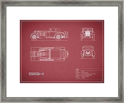 Mercedes Ssk Blueprint - Red Framed Print by Mark Rogan