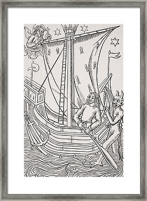 Merchant Vessel In A Storm. Facsimile Framed Print by Vintage Design Pics