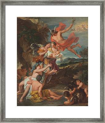 Mercury Entrusting The Infant Bacchus To The Nymphs Of Nysa Framed Print by Nicolas Bertin