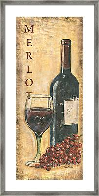Merlot Wine And Grapes Framed Print by Debbie DeWitt