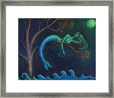 Mermaid In A Tree Framed Print by Alice Mason