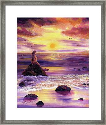 Mermaid In Purple Sunset Framed Print by Laura Iverson
