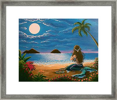 Mermaid Making Leis Framed Print by Gale Taylor