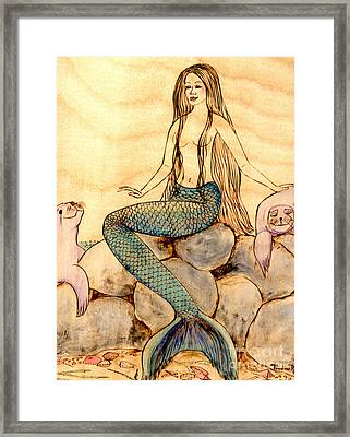 Mermaid With Seals Framed Print by Pauline Ross