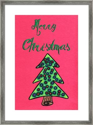 Merry Christmas Abstract Tree Framed Print by Mandy Shupp
