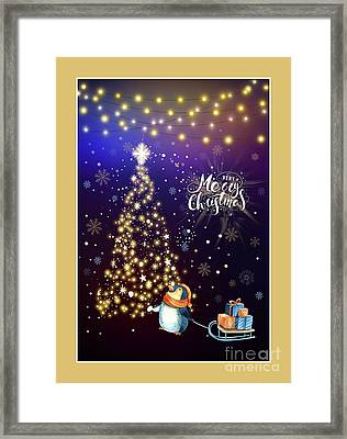 Merry Christmas Penguin By Kaye Menner Framed Print by Kaye Menner