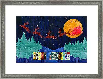 Merry Christmas Santa And His Sleigh Recycled Vintage License Plate Art Framed Print by Design Turnpike