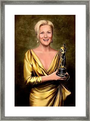 Meryl Streep Winner Framed Print by Jann Paxton