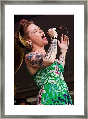 Meschiya Lake And The Little Big Horns At The 2014 Jazz Fest Framed Print by Terry Finegan