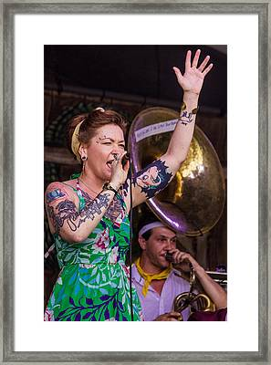 Meschiya Lake Performing On The Fais Do-do Stage At The 2014 New Orleans Jazz Fest Framed Print by Terry Finegan