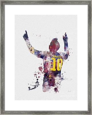 Messi Framed Print by Rebecca Jenkins