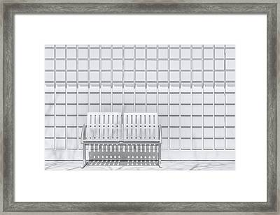 Metal Bench Against Concrete Squares Framed Print by Scott Norris