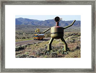 Metal Man And School Bus Framed Print by Day Williams