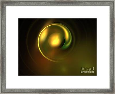 Metallic Green Disk Framed Print by Kim Sy Ok