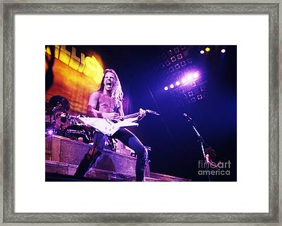 Metallica 1986 James Hetfield Framed Print by Chris Walter