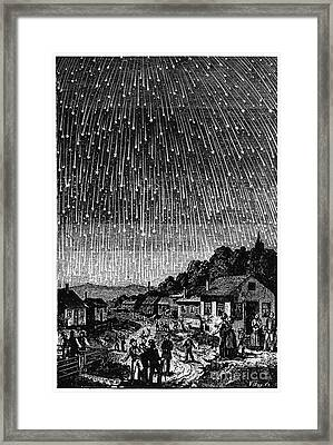 Meteor Shower, 1833 Framed Print by Granger