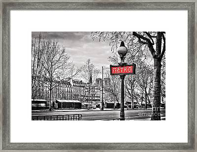 Metro Pont Marie Framed Print by Delphimages Photo Creations