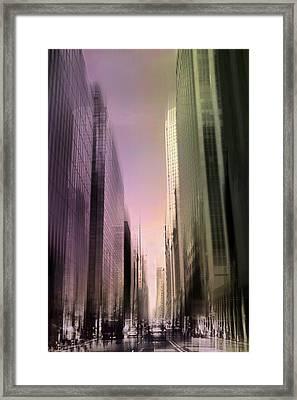 Metropolis Sunset Framed Print by Jessica Jenney