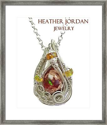 Mexican Cantera Opal Pendant In Sterling Silver With Ethiopian Welo Opals Cmfoss2 Framed Print by Heather Jordan