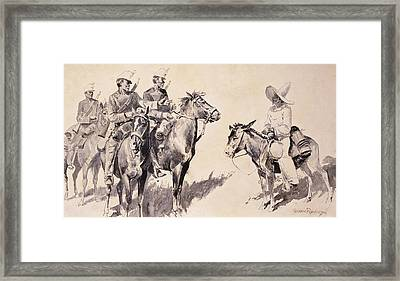 Mexican Gendarmes Asking The Way Framed Print by Frederic Remington