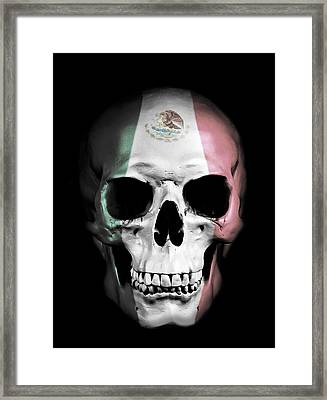 Digital Manipulation Framed Print featuring the digital art Mexican Skull by Nicklas Gustafsson