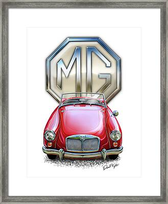 Mga Sports Car In Red Framed Print by David Kyte