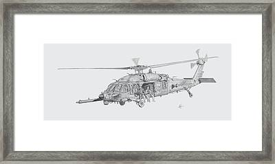 Mh60 With Gun Framed Print by Nicholas Linehan
