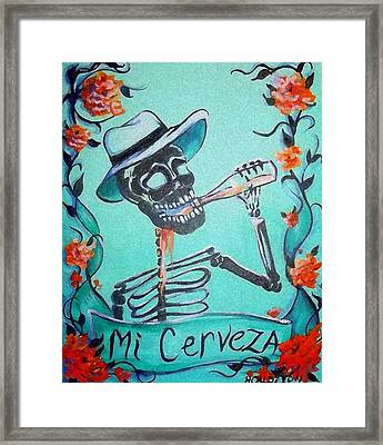 Mi Cerveza Framed Print by Heather Calderon