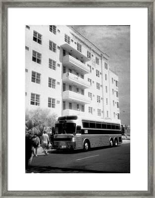 Miami Beach Greyhound Framed Print by Michael L Kimble