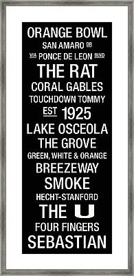 Miami College Town Wall Art Framed Print by Replay Photos