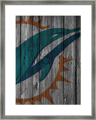 Miami Dolphins Wood Fence Framed Print by Joe Hamilton