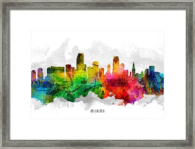 Miami Florida Cityscape 12 Framed Print by Aged Pixel