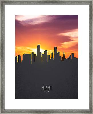 Miami Florida Sunset Skyline 01 Framed Print by Aged Pixel